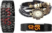 Jack Klein Metal Led_black Vint_black Led Analog-Digital Watch  - For Boys, Girls, Men, Women
