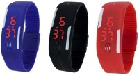 Ecbatic Blue Black And Red Led Combo Digital Watch  - For Boys, Men, Girls, Women, Couple