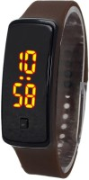 KMS Unisex Glass Led_Bravo_Brown_Digital Digital Watch  - For Men, Women, Boys, Girls