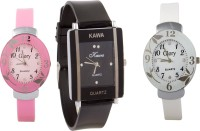 Kawa Addic Combo Of Three Watches- Pink And White Black Analog Watch  - For Women