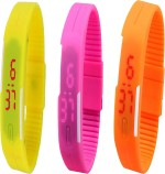 Y And D Wrist Watches Y And D Combo of Led Band Yellow + Pink + Orange Digital Watch For Boys, Couple, Girls, Women, Men