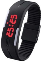3wish Led Rubber Magnet Black. Digital Watch  - For Boys, Girls, Men, Women