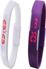 Y And D Wrist Watches Y And D Combo of Led Band White + Purple Digital Watch For Boys, Couple, Girls, Women, Men