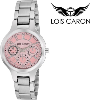 51c1e3ab7fe Lois Caron LCS-4044 WHITE CHRONOGRAPH PATTERN ANALOG WATCH Analog ...
