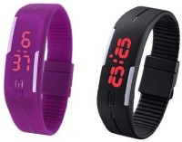 3wish LED RUBBER MAGNET BLACK PURPLE Digital Watch  - For Boys, Girls, Men, Women