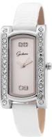 Gesture White Rectangular Diamond Studded Analog Watch  - For Women