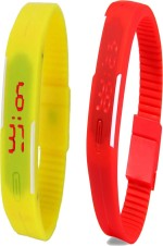 Y&D Wrist Watches Y And D Combo of Led Band Yellow + Red Digital Watch For Boys, Couple, Girls, Women, Men