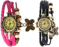 Pappi Boss Combo Offer Set Of 2 Vintage Black & Dark Pink Leather Bracelet Butterfly Analog Watch  - For Girls, Women