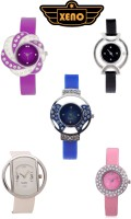 Xeno Combo7 Of 5 Multi Color Glory Diamond Studded Analog Watch  - For Women, Girls