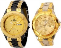 SK Galaxy Rosra Black & Gold And Gold & Silver Combo Analog Watch  - For Men