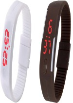 Y And D Wrist Watches Y And D Combo of Led Band White + Brown Digital Watch For Boys, Couple, Girls, Women, Men