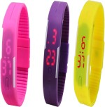 Twok Wrist Watches Twok Combo of Led Band Pink + Purple + Yellow Digital Watch For Boys, Couple, Girls, Men, Women