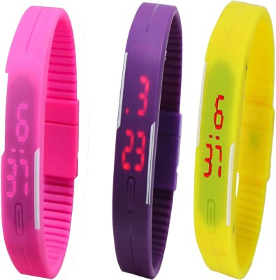 Opulent Wrist Watches Opulent Combo of Led Band Purple + Yellow + Yellow Digital Watch For Boys, Couple, Girls, Men, Women