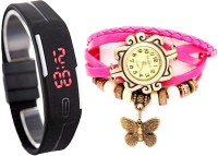 MIFY Attractive Pack Of 2 LED & Butterfly (D)BLK_(V)PNK Analog-Digital Watch  - For Boys, Girls, Men, Women