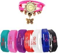 MIFY Attractive Pack Of 8 LED & Butterfly BLK_BLU_CYN_PNK_PRPL_RD_WHT_(V)PNK Analog-Digital Watch  - For Boys, Girls, Men, Women