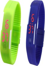 Y And D Wrist Watches Y And D Combo of Led Band Green + Blue Digital Watch For Boys, Couple, Girls, Women, Men