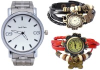 Jack Klein Pack Of 1 Metal And 2 Vintage Analog Watch  - For Men, Women