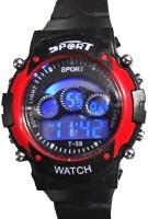 Hala Red In Black Trendy Digital Digital Watch  - For Boys, Girls, Men