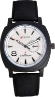 Curren White Dial-black Leather Belt Analog Watch  - For Men