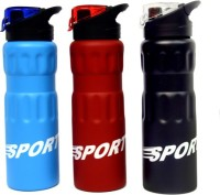 KentWorld Sport 750 Ml Water Bottles (Set Of 3, Black, Red, Blue)