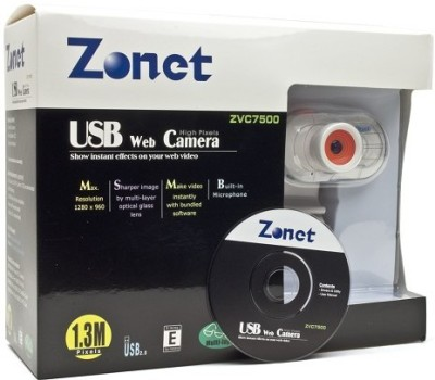 Zonet Webcam with Built in Microphone and LCD Clip On  Webcam (White)