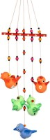 ExclusiveLane Handpainted Flying Bird Hanging Multicolour Terracotta Windchime