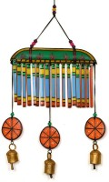 ExclusiveLane Wooden Handpainted Multicolored Bell Hanging Wooden Windchime