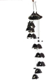 Odishabazaar Melodious Sound Ceramic Feng Shui Wind Chimes Set of 8 for Gift / Home Decor Black Ceramic Windchime