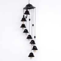 ExclusiveLane Melodious Sound Ceramic Set Of 8 In Black Ceramic Windchime