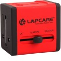 Lapcare Worldwide Adapter With Dual USB Port Worldwide Adaptor (Red)