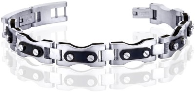 Peora Bicycle Chain Surgical Steel Men?s Bracelet PSB630 Men, Boys Black, Silver, Pack of 1 available at Flipkart for Rs.2040