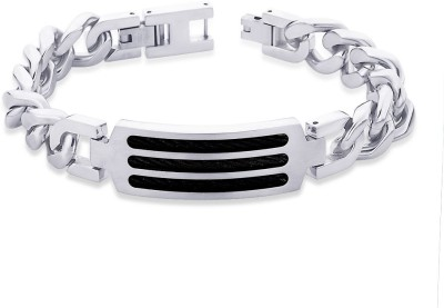 Peora Surgical Steel Men's Bracelet PSB674 Men, Boys Black, Silver, Pack of 1