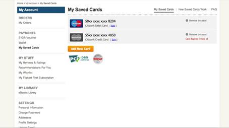 Flipkart.com: Saved Card Help: How