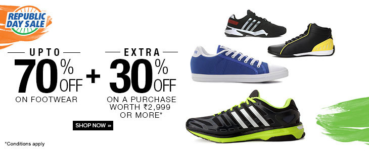 Men's Shoes Upto 70%OFF + Extra 30%OFF | Republic Day Sale Offer by Flipkart.com