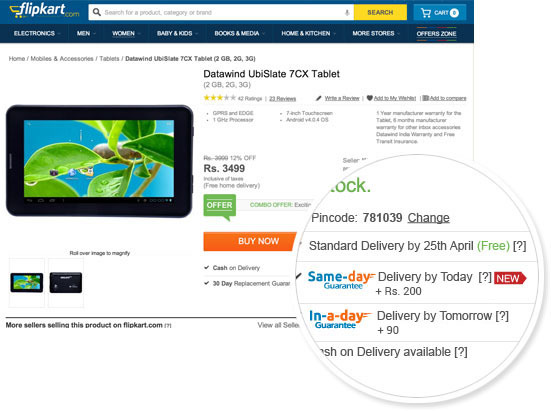 Flipkart Starts Same-day Guarantee; Now Get Deivery the Same Day Before 9 PM