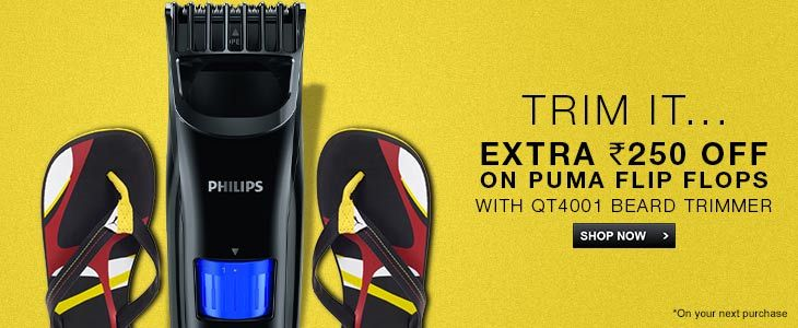Buy Philips QT4001 Trimmer For Men + Rs 250 Off on Puma Flip Flops
