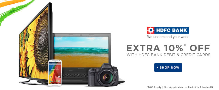 HDFC BANK Credit and Debit Card Holders - Extra 10% Discount at Flipkart