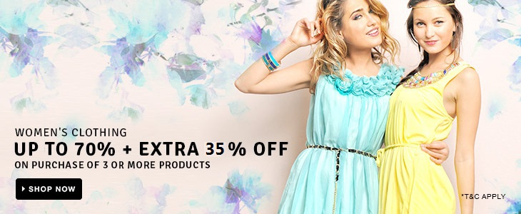 Women's Clothing - UP TO 70% + EXTRA 20% OFF on purchase of 2 products; EXTRA 35% OFF on 3 or more