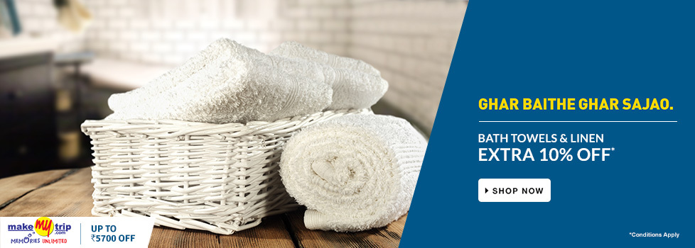 EXTRA 10% OFF on Bath Towels & Linen sets worth Rs.799 and more